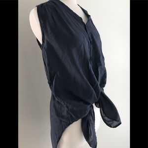 CP Shades Tunic Navy CottonSilk XS Sleeveless Top